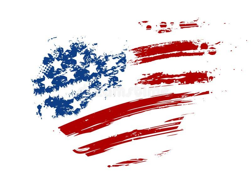 Schmutz USA-Flagge in der Herzform vektor abbildung
