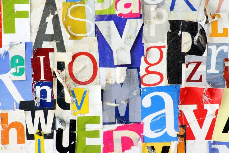 Schmutz-Zeitschriften-Buchstabe-Hintergrund stockbild