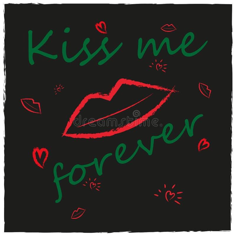Schmutzarthintergrund mit den Lippen, Kuss, Herz vektor abbildung