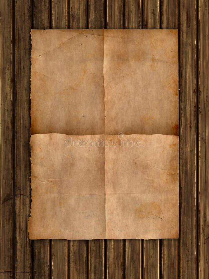 Schmutzartpapier auf einer hölzernen Beschaffenheit lizenzfreie abbildung