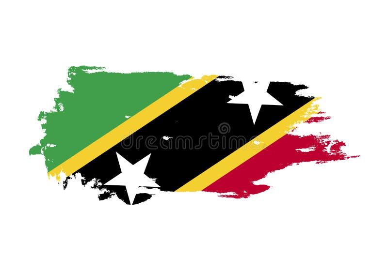 Schmutzbürstenanschlag mit Staatsflagge des Heiligen Kitts und Nevis Aquarellmalereiflagge Symbol, Plakat, Fahne Vektor an lokali vektor abbildung