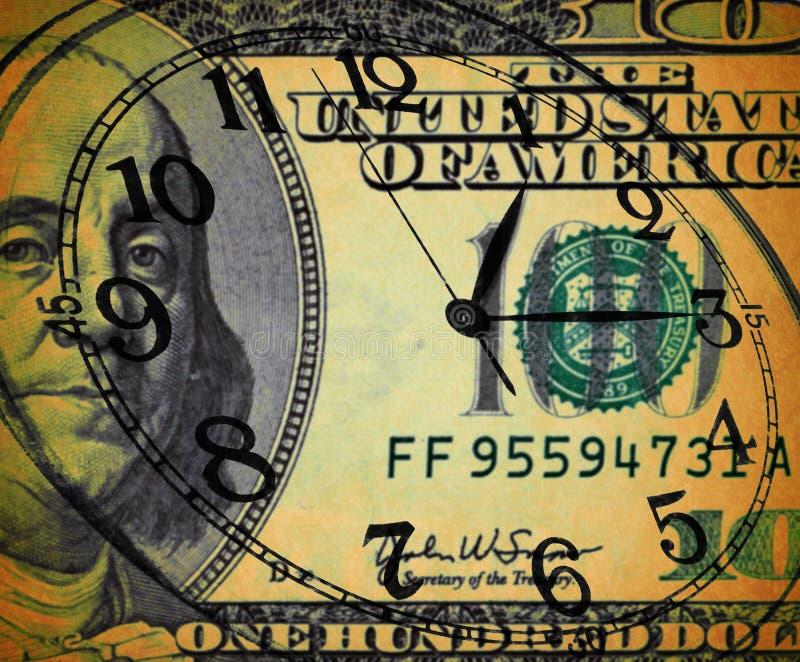 Schmutzbild des Geldes und der Uhr - Zeit ist Geld Konzept stockfoto