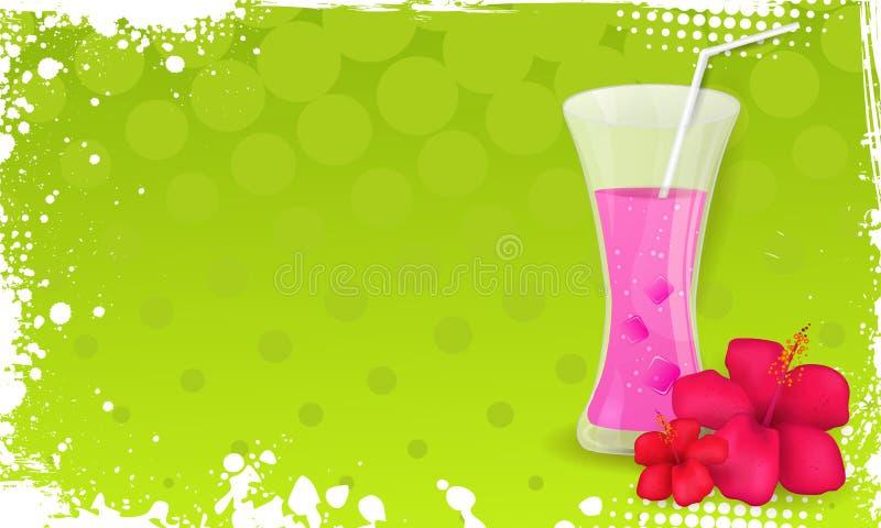 Schmutzfahne mit Glas Saft und Hibiscus flo vektor abbildung