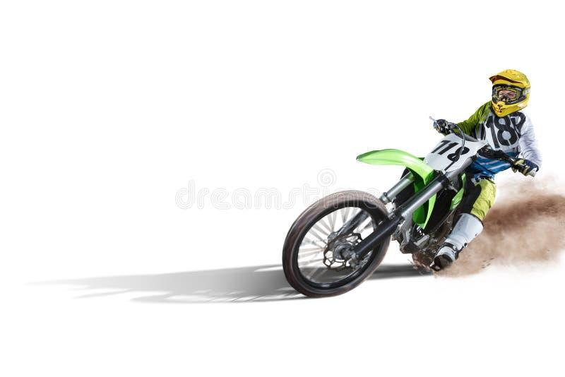 Schmutzfahrrad und -reiter lokalisiert auf Weiß lizenzfreies stockfoto