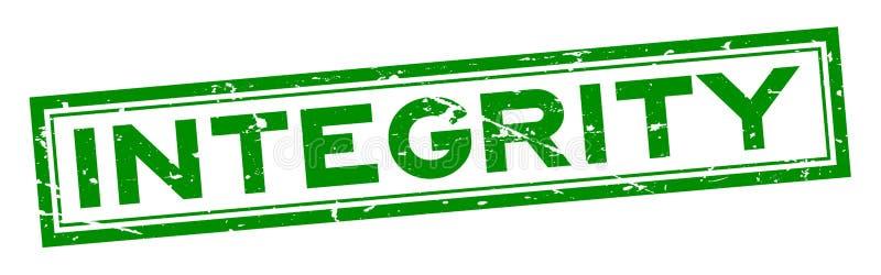 Schmutzgrünintegritäts-Wortquadrat-Gummisiegelstempel auf weißem Hintergrund stock abbildung