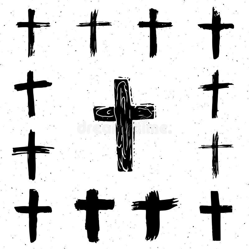 Schmutzhand gezeichneter Quersymbolsatz Christliche Kreuze, religiöse Zeichenikonen lizenzfreie abbildung