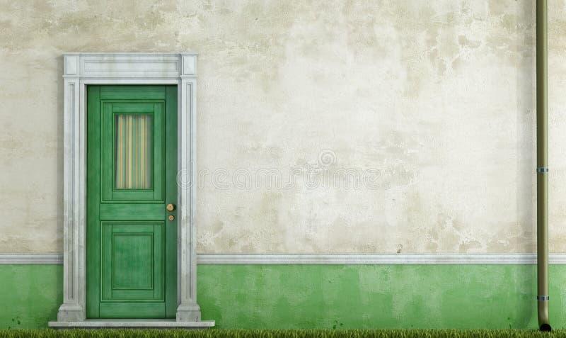 Schmutzhausfassade mit Haustür lizenzfreie abbildung