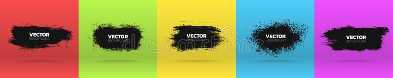 Schmutzhintergründe eingestellt Bürsten Sie verschiedene Fahnen des schwarzen Farbentinten-Anschlags Auch im corel abgehobenen Be lizenzfreie abbildung
