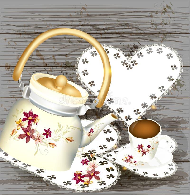Schmutzhintergrund mit Teekannebonbons und Tasse Tee auf einem hölzernen vektor abbildung