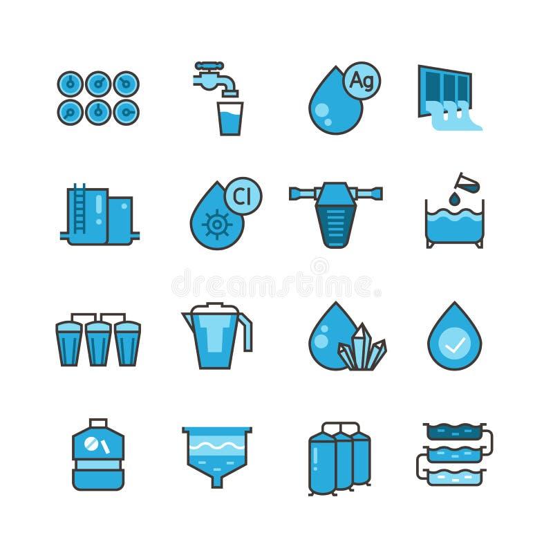 Schmutzige Abwasseraufbereitungsanlage und Wasserfilter für die Klärschlammvektorikonen eingestellt lizenzfreie abbildung