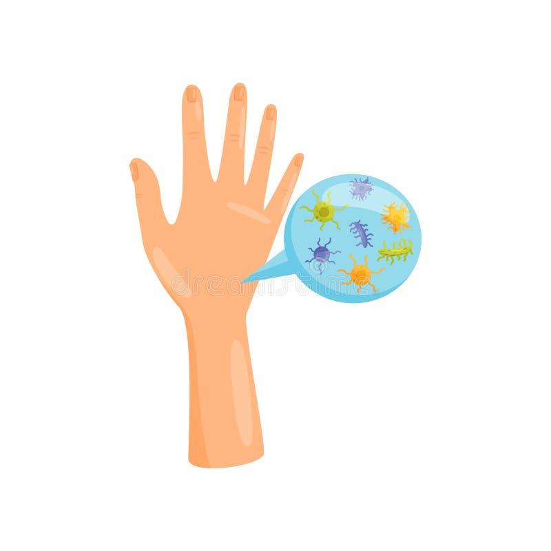Schmutzige Hände, Bakterien und Viruszellen auf menschlicher Palme, Verhinderung von Infektionskrankheiten, Gesundheitswesen und  lizenzfreie abbildung