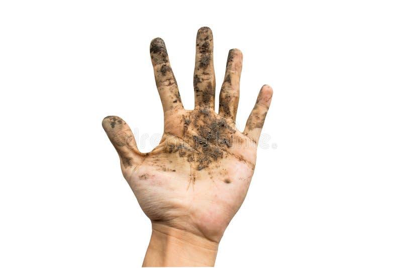 Schmutzige Hand befleckte mit dem Schmutz, der auf weißem Hintergrund lokalisiert wurde stockfoto