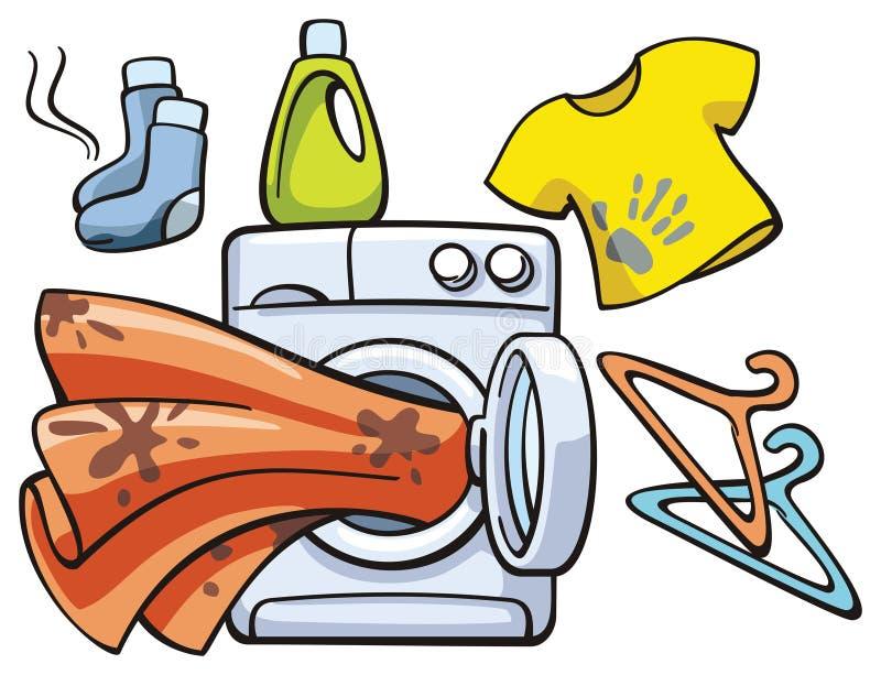 Schmutzige Kleidung und Waschmaschine stock abbildung