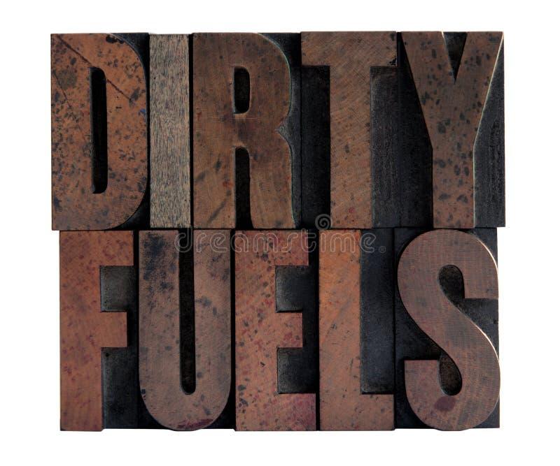 Schmutzige Kraftstoffe im Hhhochhdruckholztypen stockbilder