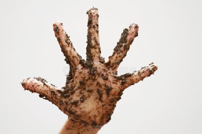 Schmutzige schlammige Hand auf Weiß stockbild