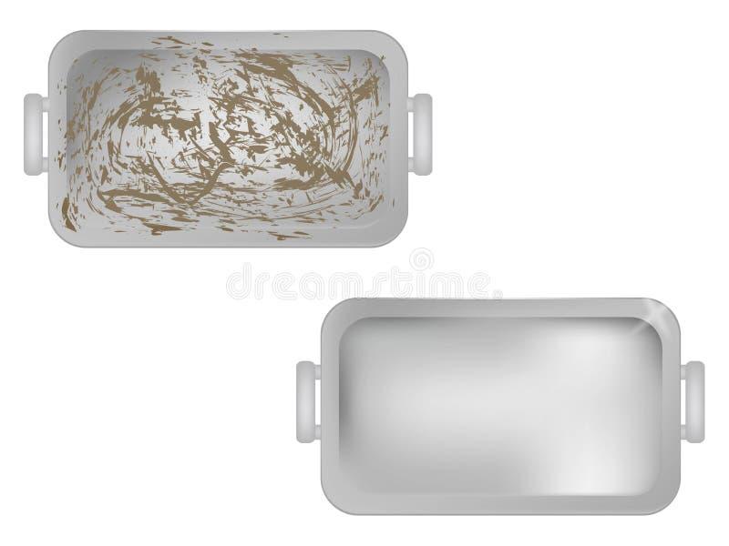 Schmutzige Teller Saubere Teller vor nachher Backblech-Bild stock abbildung
