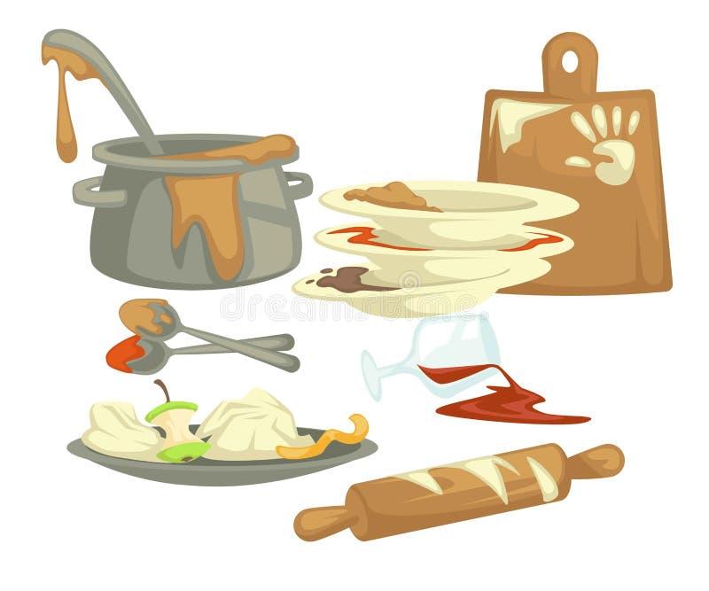 Schmutzige Teller und Dishwarenahrungsmittelüberreste und fette Flecke lizenzfreie abbildung