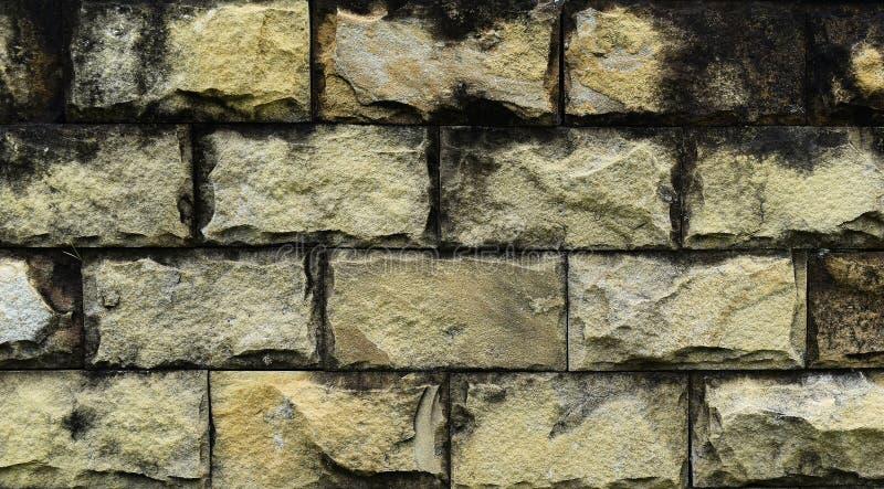 Schmutzige und alte gelbe Backsteinmauer für Hintergrund stockfotografie