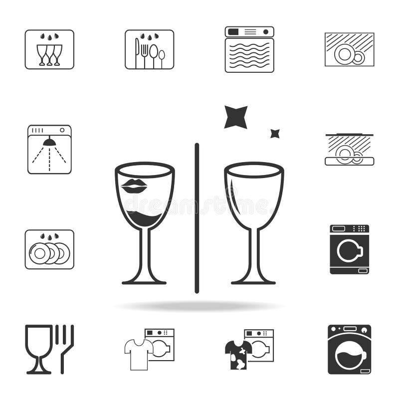 schmutzige und saubere Glasikone Ausführlicher Satz Wäschereiikonen Erstklassiges Qualitätsgrafikdesign Eine der Sammlungsikonen  stock abbildung