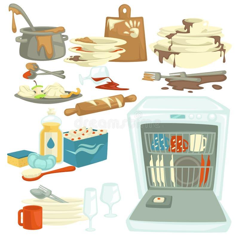 Schmutzige und saubere Teller Spülmaschine und Nahrung bleibt reinigend stock abbildung