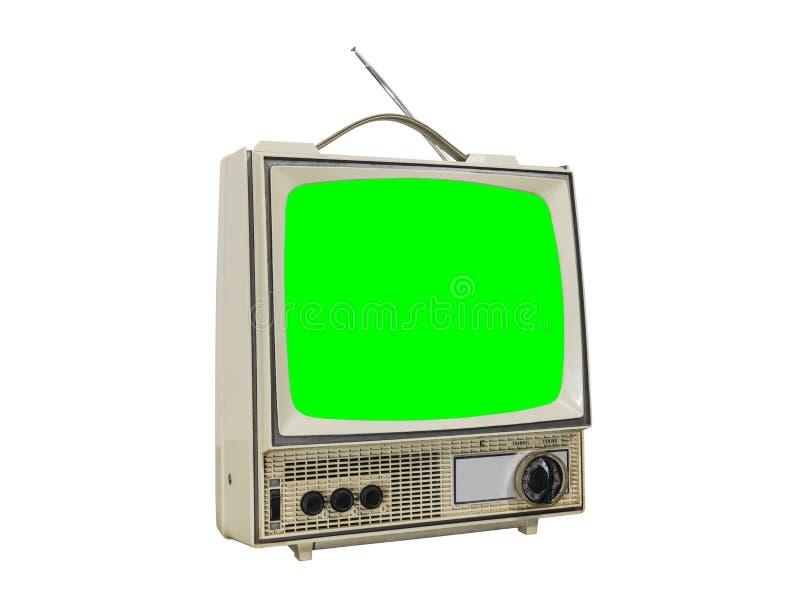 Schmutzige Weinlese-tragbares Fernsehen lokalisiert mit Farbenreinheits-grünem Störungsbesuch stockfotos