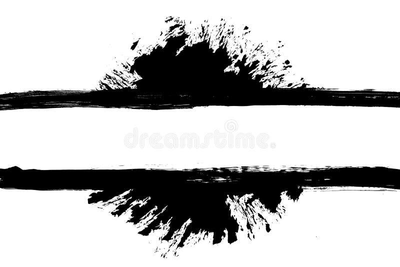 Schmutziger, befleckter Farbenanschlagschmutz-Rechteckrahmen mit Spritzen lizenzfreie abbildung