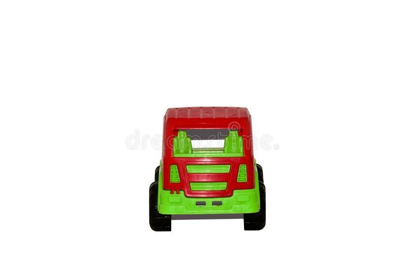 Schmutziger benutzter Spielzeugauto-LKW lokalisiert auf wei?em Hintergrund stockbild