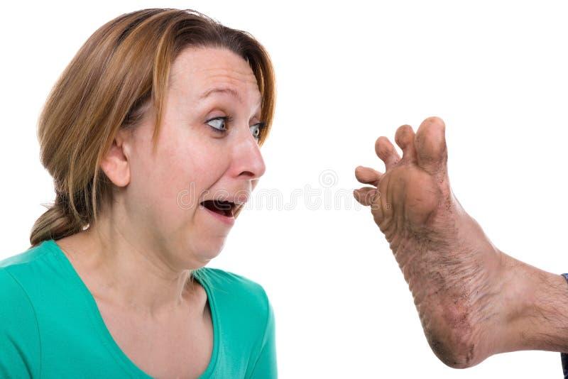 Schmutziger Fuß stockfoto