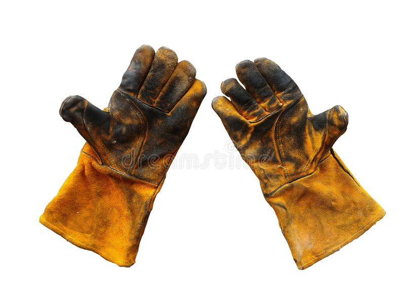 Schmutziger Lederhandschuh nach der Arbeit hart auf weißem Hintergrund stockfotografie