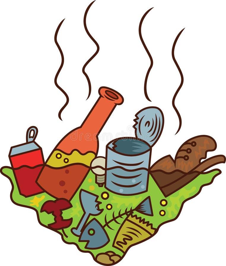 Schmutziger Teich der Abfall-Karikatur-Illustration stockbild