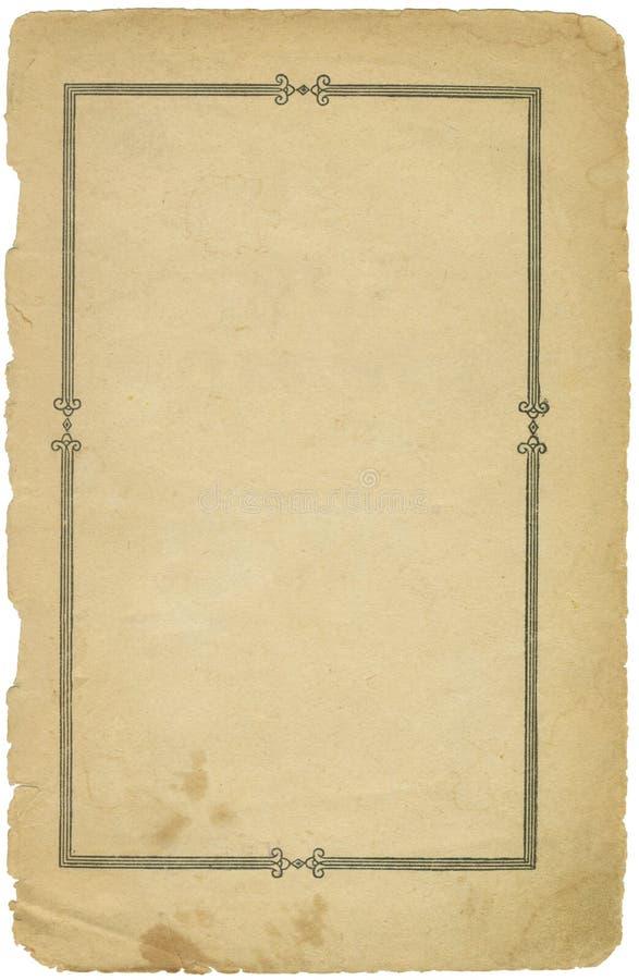 Schmutziges Blatt Papier der Weinlese mit Rand lizenzfreies stockbild