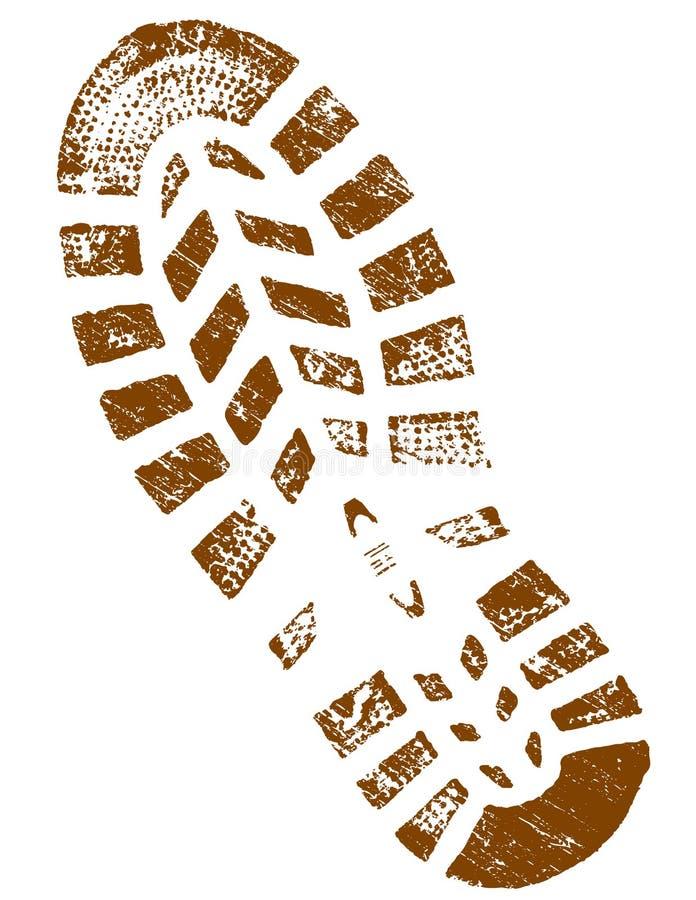 Schmutziges Brown ShoePrint führte einzeln auf vektor abbildung