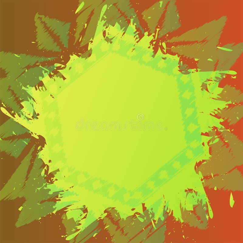 Schmutzmalerpinselhintergrund über Weinleseblumenverzierung Alte Schablonenhintergrundart Bunte Lackbeschaffenheit lizenzfreie abbildung