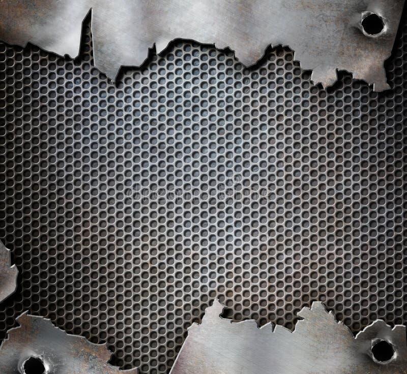 Schmutzmetallhintergrund mit Einschusslöchern stockfoto