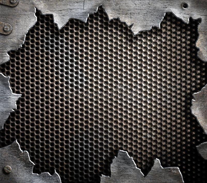 Schmutzmetallhintergrund mit heftigen Rändern stockfoto