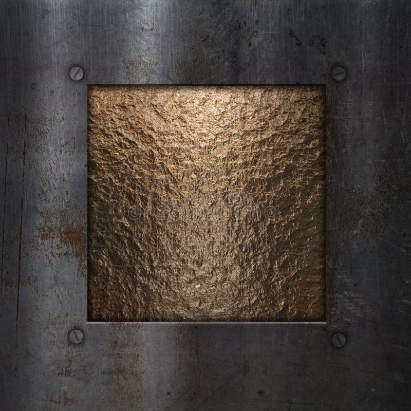 Schmutzmetallrahmen auf Chrom stock abbildung