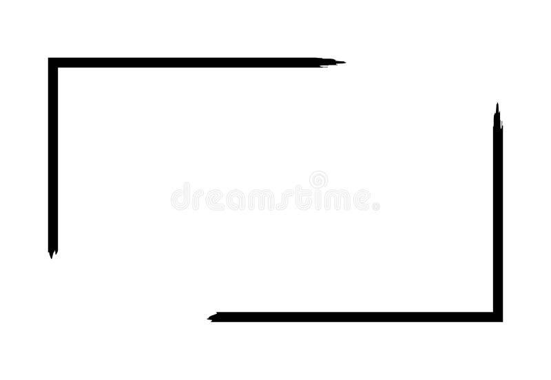Schmutzrahmen lokalisiert auf weißem Hintergrund Schwarze Rechteckfokusgrenze, Schmutzanschlagschablone Pinseleffekt stock abbildung