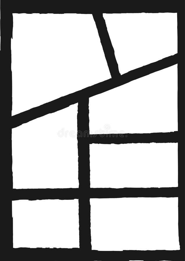 Schmutzschablone für Fotocollage Vertikaler Hintergrund mit den Rahmen gemalt mit rauer Bürste stock abbildung