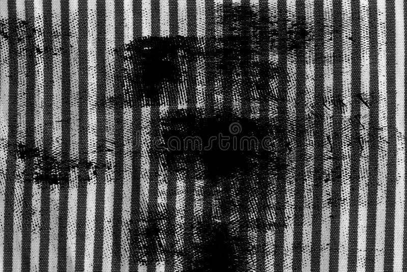 Schmutzschmutzige Schwarzweiss-Nahaufnahme der abgestreiften Gewebebeschaffenheit lizenzfreie stockbilder