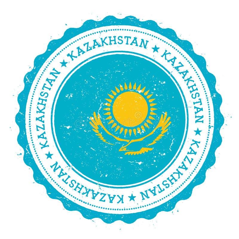 Schmutzstempel mit Kasachstan-Flagge stock abbildung