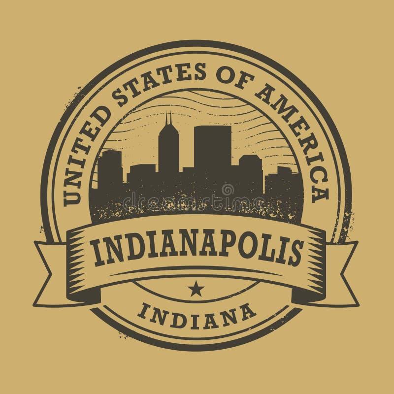 Schmutzstempel mit Namen von Indianapolis, Indiana vektor abbildung