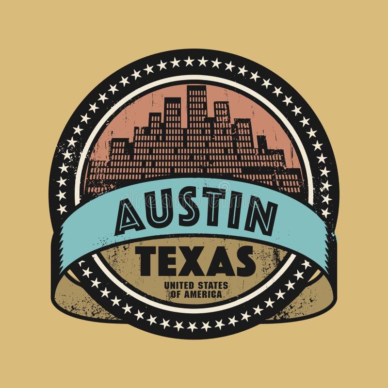 Schmutzstempel oder Aufkleber mit Namen von Austin, Texas vektor abbildung