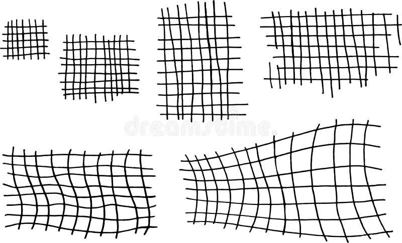 Schmutztinten-Handgezogener Satz mit quadratischen Käfigelementen Schwarzweiss-Zellsammlung für Entwurf Stra?enkunstart Kratzerli vektor abbildung