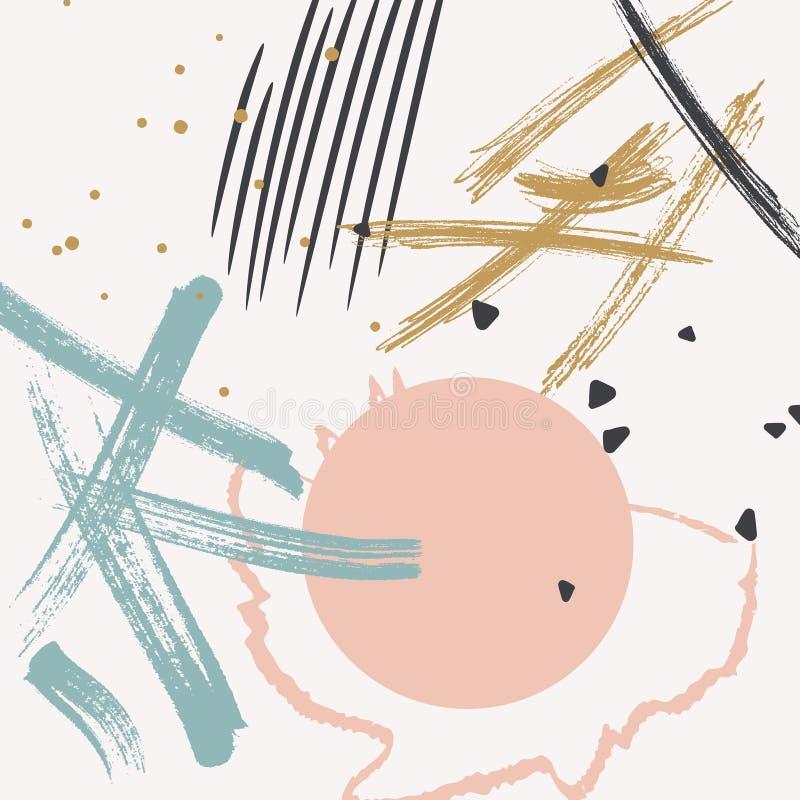 Schmutzvektormuster machte eigenhändig gezeichnete dünne Farbenanschläge Anschläge in der glücklichen Pastellfarbrose, Blau, Gold lizenzfreie abbildung