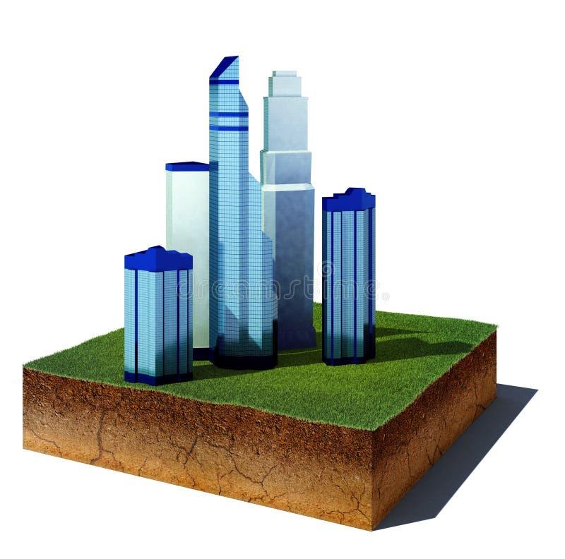 Schmutzwürfel mit dem Wolkenkratzerbezirk lokalisiert auf weißem Hintergrund vektor abbildung