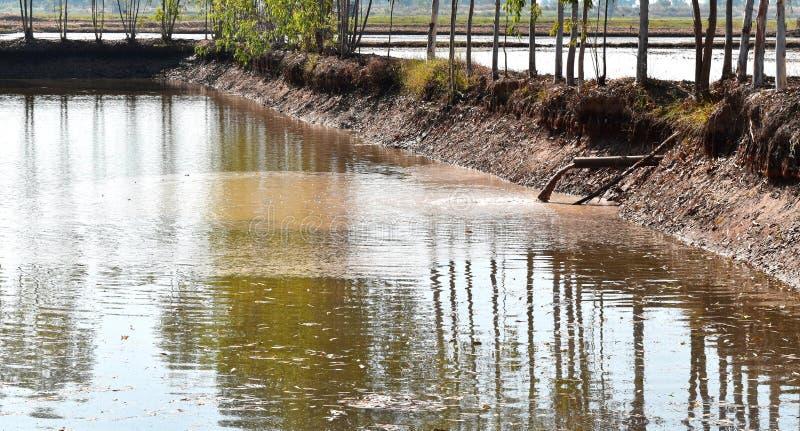 Schmutzwasser durch alten Rohrtropfen des Reservoirs stockfoto