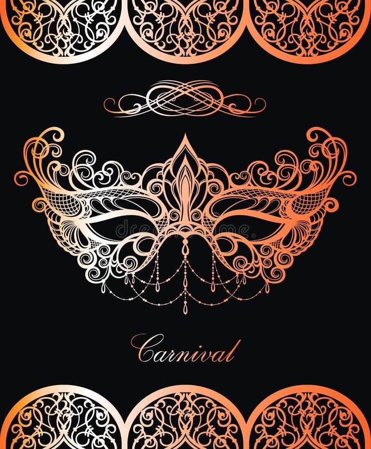 Schnüren Sie sich Karnevalsmaske im Gold auf schwarzem Hintergrund vektor abbildung