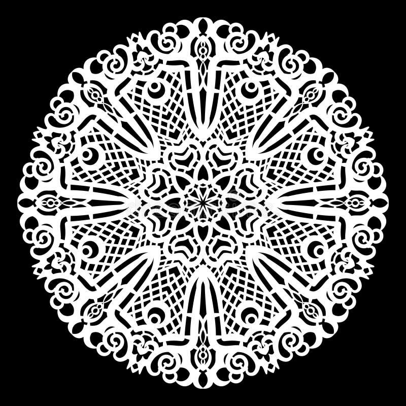 Schnüren Sie sich ringsum Papierdoily, die Spitzen- Schneeflocke und Element grüßen, Laser-Schneideschablone stock abbildung