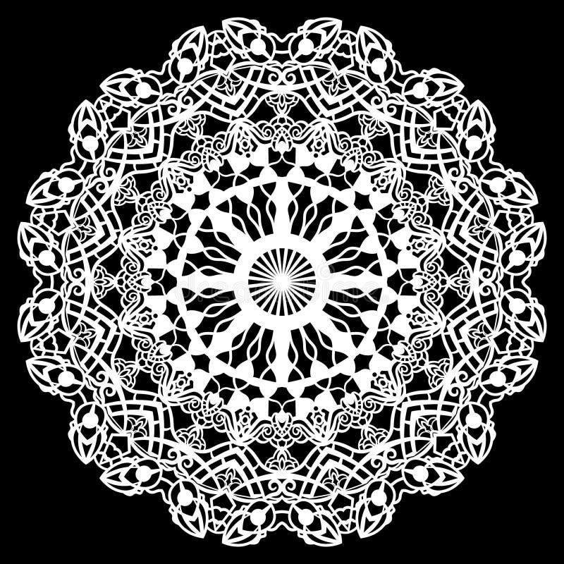 Schnüren Sie sich ringsum Papierdoily, die Spitzen- Schneeflocke und Element grüßen, Laser-Schneideschablone, Doily, um den Kuche vektor abbildung