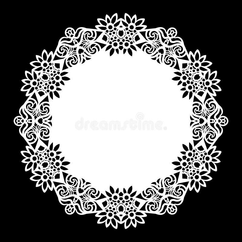 Schnüren Sie sich ringsum Papierdoily, die Spitzen- Schneeflocke und Element grüßen, Schablone für den Schnitt lizenzfreie abbildung